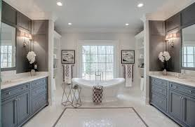 gray bathroom colors. Beautiful Colors Master Bathroom With Dark Gray Wall Panels Two Vanities And Freestanding  Tub For Gray Bathroom Colors E