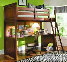 wooden full size loft bed with desk