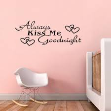 2pcs always kiss me goodnight love word romantic wall sticker home