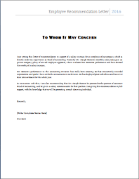 ms word employee recommendation letter template   word document    employee recommendation letter