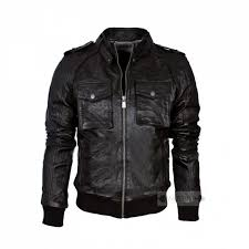 new look men black biker leather jacket