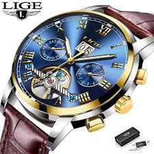 <b>LIGE Men Watch Automatic</b> Mechanical Leather Waterproof Watch ...