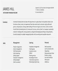 Restaurant Manager Cover Letter Free Restaurant Manager Resume