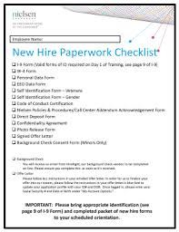 New Hire It Checklist Fillable Online New Hire Paperwork Checklist Nielsen Fax Email