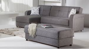 stunning gray modern sectional sleeper sofa and rectangular storage ottoman in modern white living room