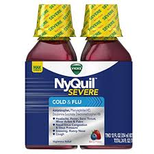 Vicks Nyquil Severe Cough Cold And Flu Nighttime Relief Berry Flavor Liquid Twin Pack 2x12 Fl Oz Relieves Nighttime Sore Throat Fever Congestion