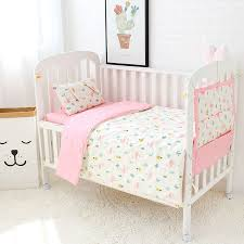 3 pcs set baby bedding set pure cotton flamingo grey cloud pattern crib kit including pillowcase