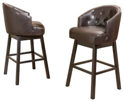 gdf studio westman brown leather swivel backed bar stools set of 2 transitional bar stools and counter stools by gdfstudio