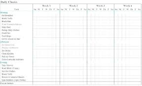 Chore Chart Templates Free Printable Picture Chore Chart Template