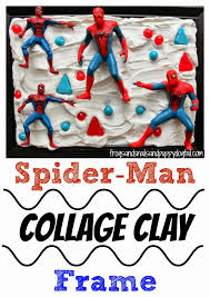 spider man collage clay frame mod podge