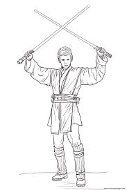 This coloring page shows spiderman hanging upside down, holding onto his cobweb. Anakin Skywalker With Lightsabers Star Wars Episode Ii Attack Of The Clones Coloring Pages Printable