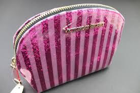 glitter make up bag and love pink image