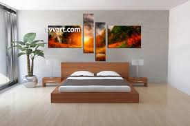 Paintings For Bedroom Decor 4 Piece Abstract Orange Oil Paintings Large Pictures