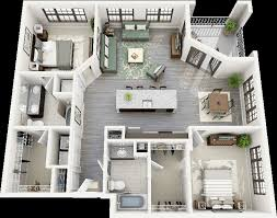 Two  quot   quot  Bedroom Apartment House Plans   Architecture  amp  Design  Crescent Ninth Street Two Bedroom Apartment