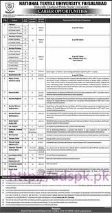 latest govt jobs in lahore karachi islamabad we new career excellent jobs national textile university faisalabad jobs for professors registrar director qec deputy director