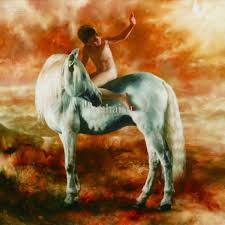 2018 handcraft animal oil painting on canvas the little boy riding on a horse from wuhaisu 37 19 dhgate com