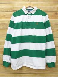 old clothes long sleeves rugby shirt ralph lauren ralph lauren logo green green horizontal stripe xl size used men tops