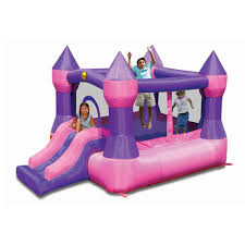 Pink Jumping Castle With Slide Little Kids Jumping Castles