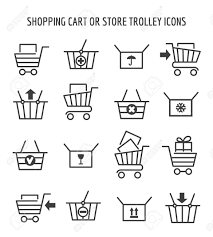shopping cart web shopping cart or store trolley icons for web e commerce outline