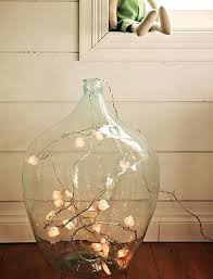 large clear glass floor vase w string lights could be used for coloured home decor desire
