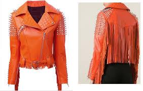 arrow women orange studded and fringed leather biker jacket 87879hh1