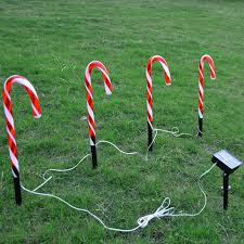 Green Candy Cane Pathway Lights Amazon Com Shan S Christmas Solar Candy Cane Pathway