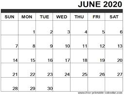 2020 Calendar Editable June 2020 Calendar Printable Free Printable Calendar Com