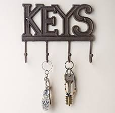 Amazon.com: Key Holder - Keys - Wall Mounted Key Hook - Rustic Western Cast  Iron Key Hanger - Decorative Key Organizer Rack with 4 Hooks - With Screws  and ...