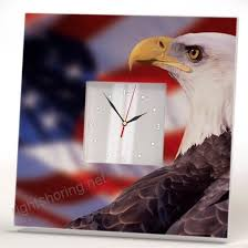 american flag and bald eagle wall clock framed mirror printed usa fan art home patriotic decor