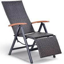 aluminum rattan lounge chair recliner