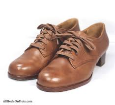 russet brown leather womens tie up service oxfords