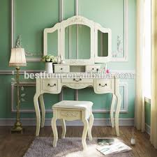 ivory white vanity dressing table set makeup desk with 3 mirrors