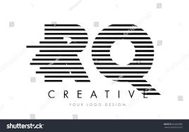 RQ R Q Zebra Letter Logo Design with Black and White Stripes Vector