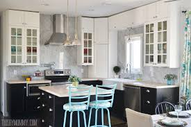 Marble slab backsplash Solid Slab Beautiful Vintage Industrial Kitchen Featuring Black And White Ikea Cabinets Turquoise Accents And The Diy Mommy Marble Panel Backsplash For Our Diy Kitchen The Diy Mommy