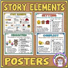 Literary Elements Anchor Chart Story Elements Posters Mini Anchor Charts For Word Walls Reference