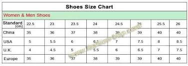 Chinese Shoe Size Chart World Of Template Format