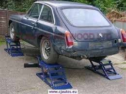 car on jack stands. four ramps car on jack stands