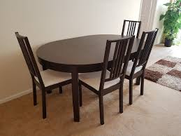 dark wood extendable dining table 4 chairs
