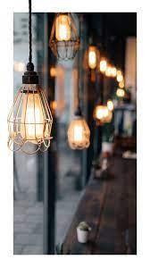 Coffee shop window hanging lights phone ...