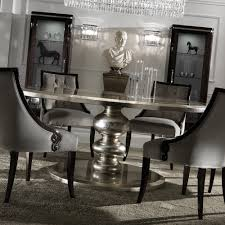 large round italian champagne leaf dining table