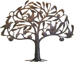 haitian steel drum metal art fruit tree with birds wall decor haitian art view images