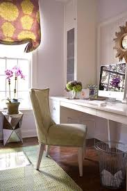 purple office decor. AMAZing Curtain, White Desk, Gorgeous Flowers, Cool Mirrored Accent Table, Lilac Walls Purple Office Decor