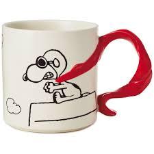J Parker Design Mugs Peanuts Snoopy Flying Ace With Scarf Handle Mug 12 Oz