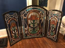 antique stained glass fireplace screen decor window