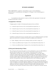 Retainer Agreement Template Services Retainer Agreement General Serviceproduct Contracts 1