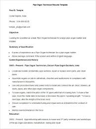 Sample Pipe Organ Technician Resume Template