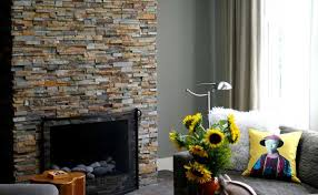 norstone modern stacked stone fireplace