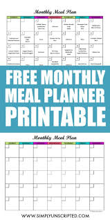 free menu planner free monthly meal planner printable calendar template for menu planning