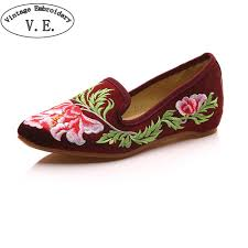 <b>Women Shoes Flats</b> Faux Suede Vintage Flower Embroidery Lady ...