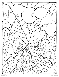 helpful free coloring pages of mountains landscape nature scenes detailed arilitv